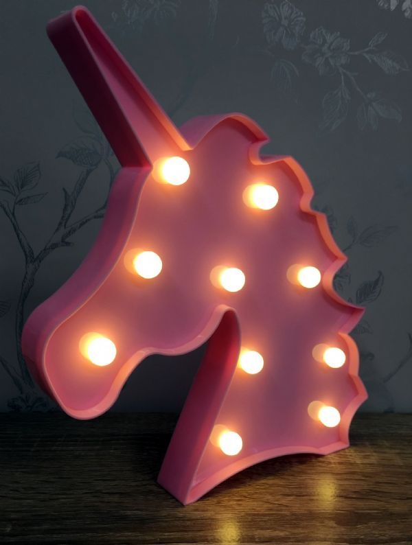 PINK LED Light Up Unicorn Head Circus Light ~ Freestanding or Wall Hanging
